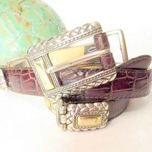 Brighton Leather and Southwestern Silver Belt M